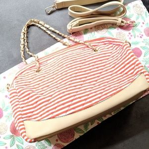 Orange/white stripe purse